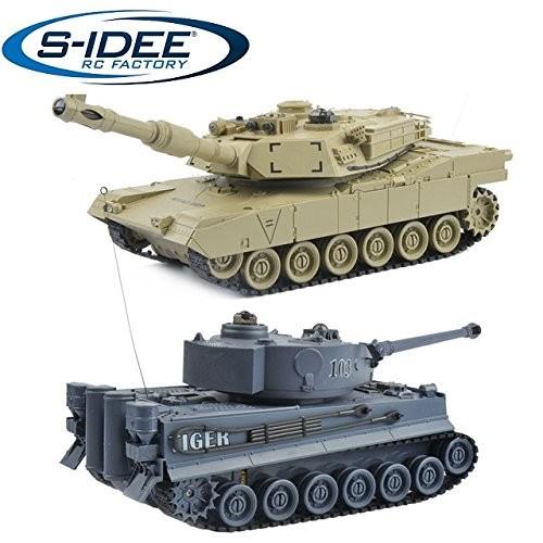 s-idee® 99822 2 x Battle Panzer 1:28 mit integriertem Infrarot Kampfsystem 2.4 Ghz RC R/C